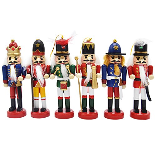 Anlydia 6pcs Wooden Nutcracker Ornament Set Handpainted Assorted Set 5
