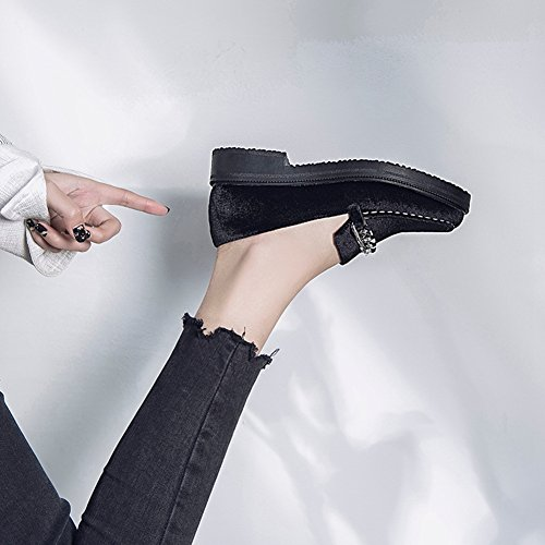 T-JULY Loafers Shoes For Women - Metal Chain Slip On Mid-Heel Round Toe Suede Retro Penny k0UkDUeuUH
