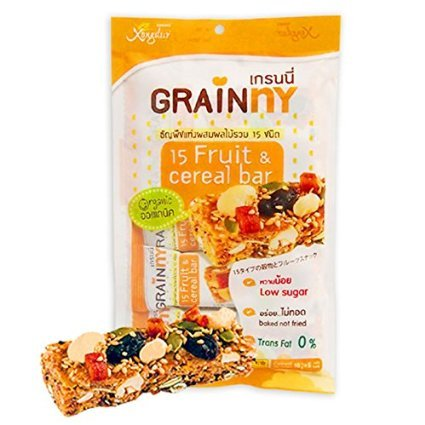 Organic Food Bar Organic Brown Rice (16g X 10 Pcs Xongdur Grainny 15fruits & Cereal Bar Thailand Diet Snack Vegan Food Halal By Thai Dd)