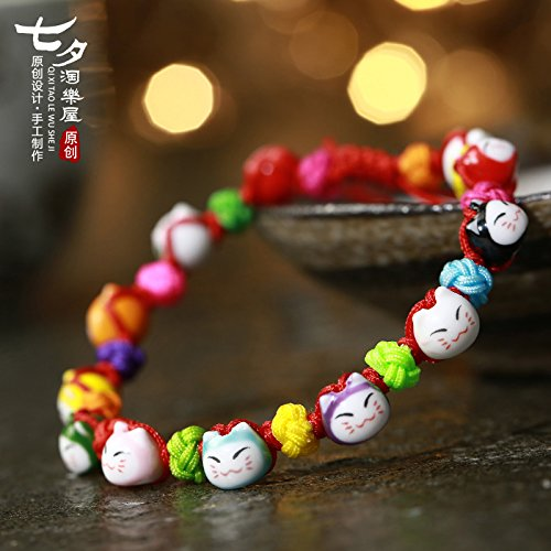 TKHNE Tanabata original Lok Tong Lucky Cat Black snow perfect amethyst Foot Chain anklet bracelets Dr Peach