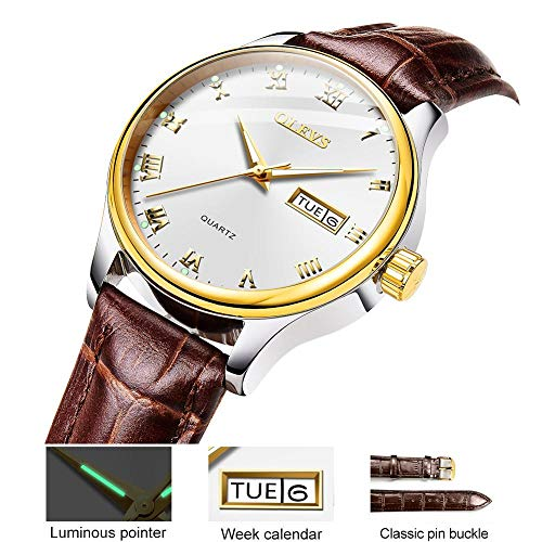 Watches for Women Waterproof Leather Strap Dress Business Casual Rose Gold Watch Women White Surface with Day Date Luminous Dial Display Girl Gifts for Lovers with Gift ()
