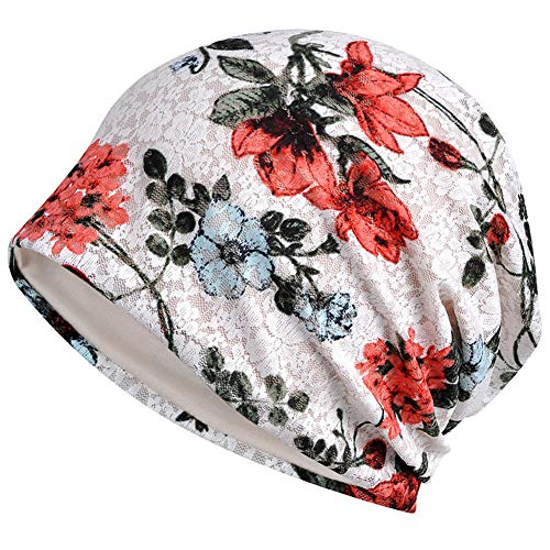 (Womens Cotton Beanie Lace Turban Soft Sleep Cap Chemo Hats Fashion Slouchy Hat (White Peony))