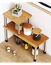 Corner Shelf 2 Tier Storage Shelves-Bamboo Adjustable Spice Rack Riser,Standing Counter top Cabinet Display Shelf-Creative Space Saving Organizer