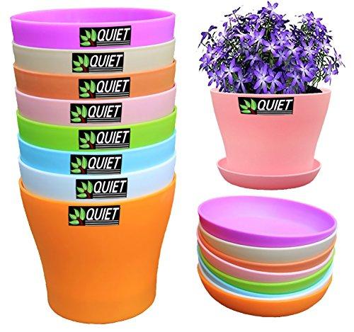 QUIET 8 Colors Cute Mini Colorful Plastic Flower Pots With Saucers,Seedlings Flower &Seeds Germination & Succulent