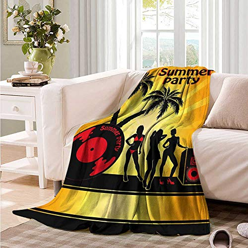 Oncegod Comfort Blanket Beach Party Girls Vinyl Record Recliner Throw,Couch Throw, Couch wrap 72