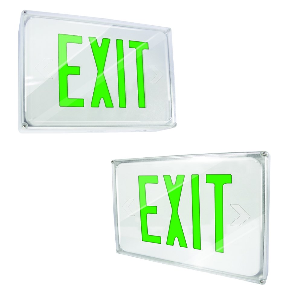 eTopLighting [2 Pack] LED Exit Sign Emergency Light, Green Letter, Battery Back-up, Fully Automatic Operation, Ceiling or Wall Mounting, Side Mounting, AGG2170