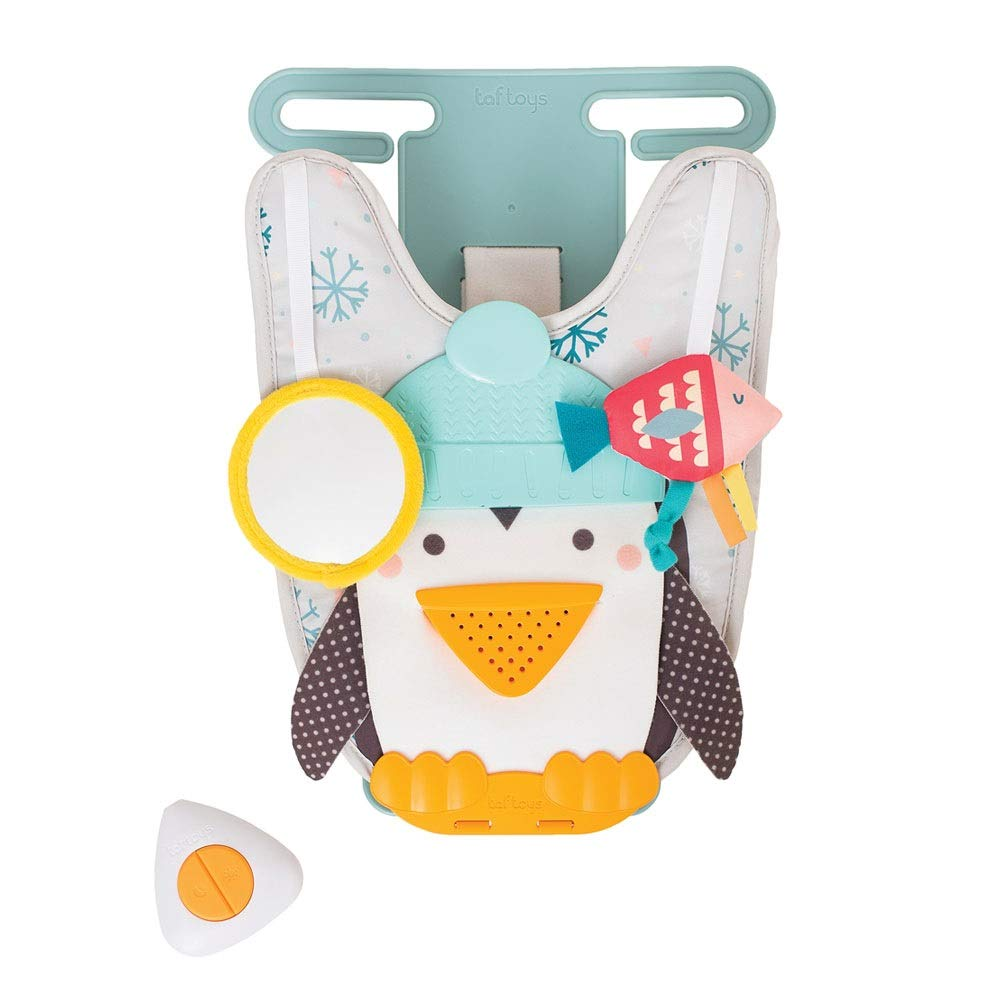 Taf Toys Penguin Play and Kick Infant Car Toy Travel Activity Center for Rear Facing Baby with Remote Control | Parent and Baby's Travel Companion, Keeps Both Relaxed While Driving
