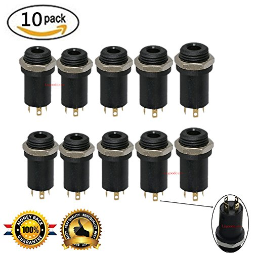 3.5MM Mini Stereo Panel Mount Jack Solder Connector - 3.5MM Headphone Audio Video Female Vertical Jack Socket Plug with Nuts,Full Gold-Plated High Temperature 4 Channel, Pack of 10, Sold By Lsgoodcare (Jack Mini Stereo Socket)