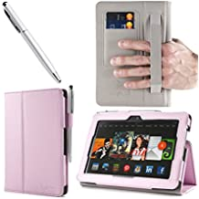 i-BLASON Kindle Fire HDX 7 inch Tablet Leather Case Cover / Stylus (Automatically Wakes and Puts the Kindle Fire HDX to Sleep) (NOT Compatible with Kindle Fire HD 7) One Year Warranty (Pink)