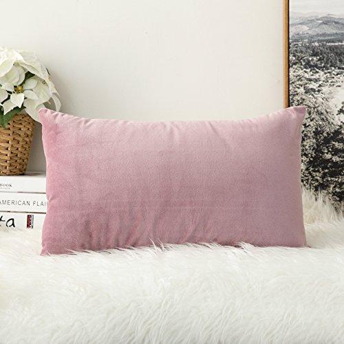 (MIULEE Velvet Soft Soild Decorative Square Throw Pillow Covers Cushion Case for Sofa Bedroom Car 12 x 20 Inch 30 x 50 cm)