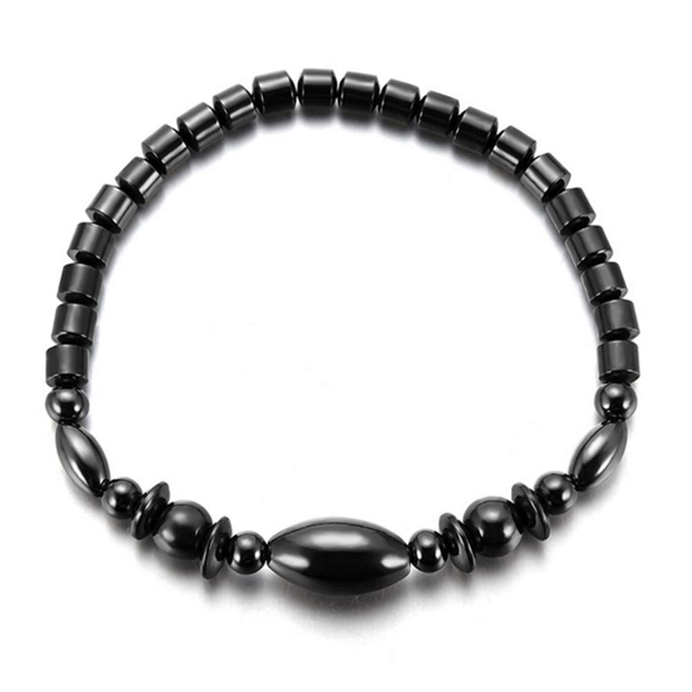 Xiton Fashion Hematite Anklet Magnetic Stone Anklet Beach Ankle Bracelet Mixed Beads Anklet for Women Man Black