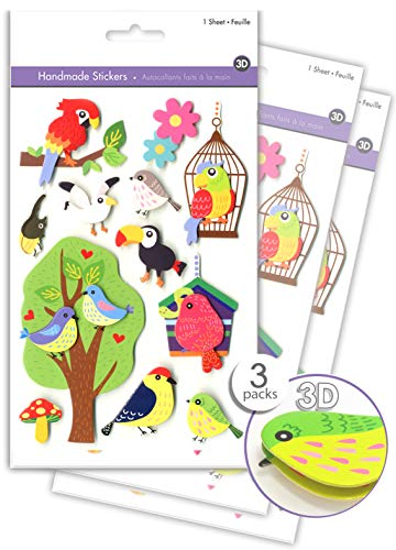 (3 Pk Craft Bird Stickers, Birdhouse Stickers Birdcage Scrapbook Stickers Embellishments Stacked Stickers, 3D Dimensional Stickers, Handmade Exotic Tropical Bird Stickers, Layered Pop-up)