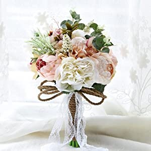 Zebratown 9.5'' Peony Rose Dahlia Wedding Bouquet Bride Bridal Brooch Bouquet Bridesmaid Bouquet Valentine's Day Confession 34