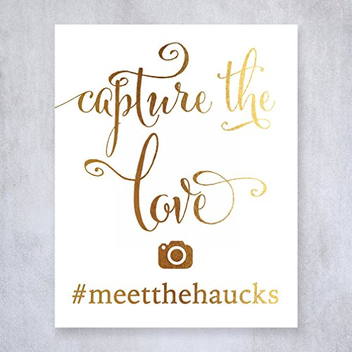 Capture The Love Social Media Custom Personalized IG Hashtag Gold Foil Sign Wedding Reception Signage 5 inches x 7 - Ig Shop