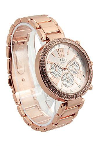 Ladies Stunning Rhinestone Pave' Rose Gold Tone Watch - 8539XII Rose Gold