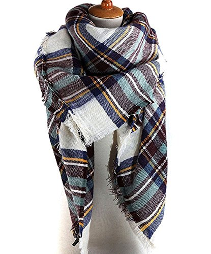 AUSELILY Women`s Stylish Warm Tassels Soft Plaid Tartan Scarf Blanket Wrap Shawl (One size, Blue White)
