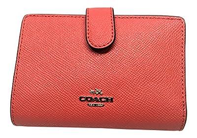 COACH Fruit Print Crossgrain Leather Medium Corner Zip Wallet Watermelon