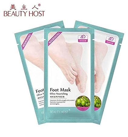3 pares de calcetines nutritivos para pies y pies, máscara para pelar pies, olivos