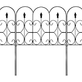 Best Choice Products 10ftx32in Set of 5 Foldable Interlocking Iron Decorative Garden Edging Fence Panels - Black