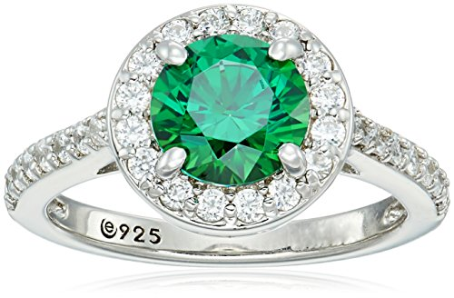 Platinum-Plated Sterling Silver Round-Cut Fancy Green Halo Ring made with Swarovski Zirconia, Size 5