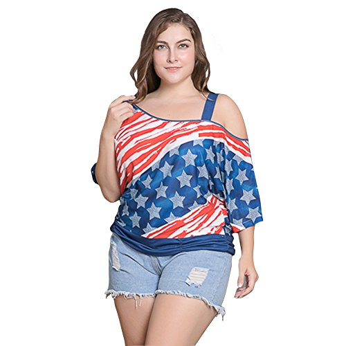 Felove-American-Flag-Off-Shoulder-Blouses-Plus-size-For-Women