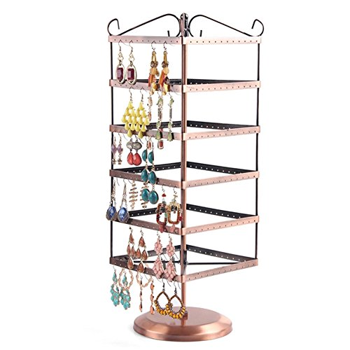 etruke drehbar Jewelry Display Ohrring Bronze Metall Halter Ständer Rack B