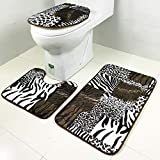 JUNMAO Decoratives Zebra Leopard Print Flannel Area Rug Toilet Mat 3PCs, Non-Slip Bath Mat Absorbent Quick Dry Carpets for Hardwood Floors Bedroom Living Room Bathing Room (F, Free Size)