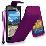 Huawei Ascend Y550 - Étui rabattable en cuir housse capot + Touch Stylet + écran protecteur & chiffon de polissage ( violet foncé )