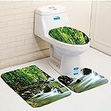 Keshia Dwete three-piece toilet seat pad customRainforest Mountain Stream in a Tropical Rain Forest Foliage Countryside Wilderness Scene Green Brown