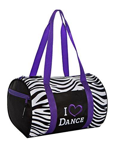 Horizon Dance 4002 Zebra Pattern Duffel Bag with Embroidered I Heart Dance Design - Purple Trim