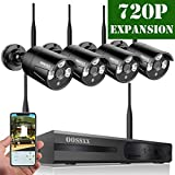 OOSSXX HD 1080P 8-Channel Wireless Security Camera System,4 pcs 720P 1.0 Megapixel Wireless Weatherproof Bullet IP Cameras,Plug Play,70FT Night Vision,P2P,App, No Hard Drive