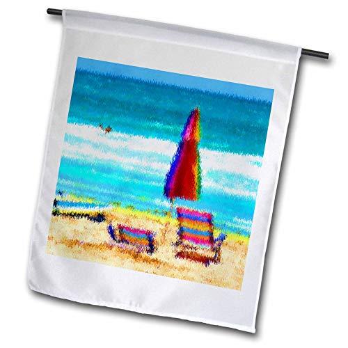 (3dRose fl_156138_1 Beach Scene Painterly Chairs Surfboards Umbrellas Sand Ocean Garden Flag, 12 by 18-Inch)