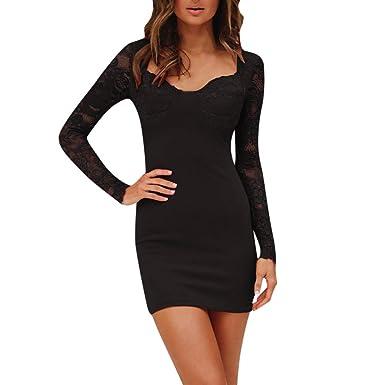 Kleid Damen Kolylong Frauen Elegant Spitze Langarm Kleid Kurz Herbst Winter  Vintage Spitzenkleid Slim Fit Business 161cad096a