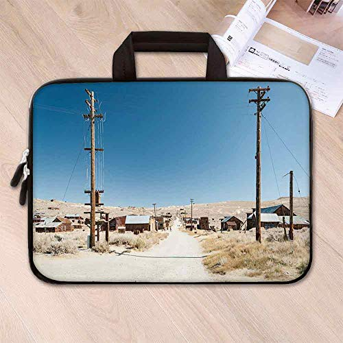 (Western Large Capacity Neoprene Laptop Bag,Bodie State Historic Park Ghost Town in California United States Arid Country Decorative for 10 Inch to 17 Inch Laptop,14.6''L x 10.6''W x 0.8''H)