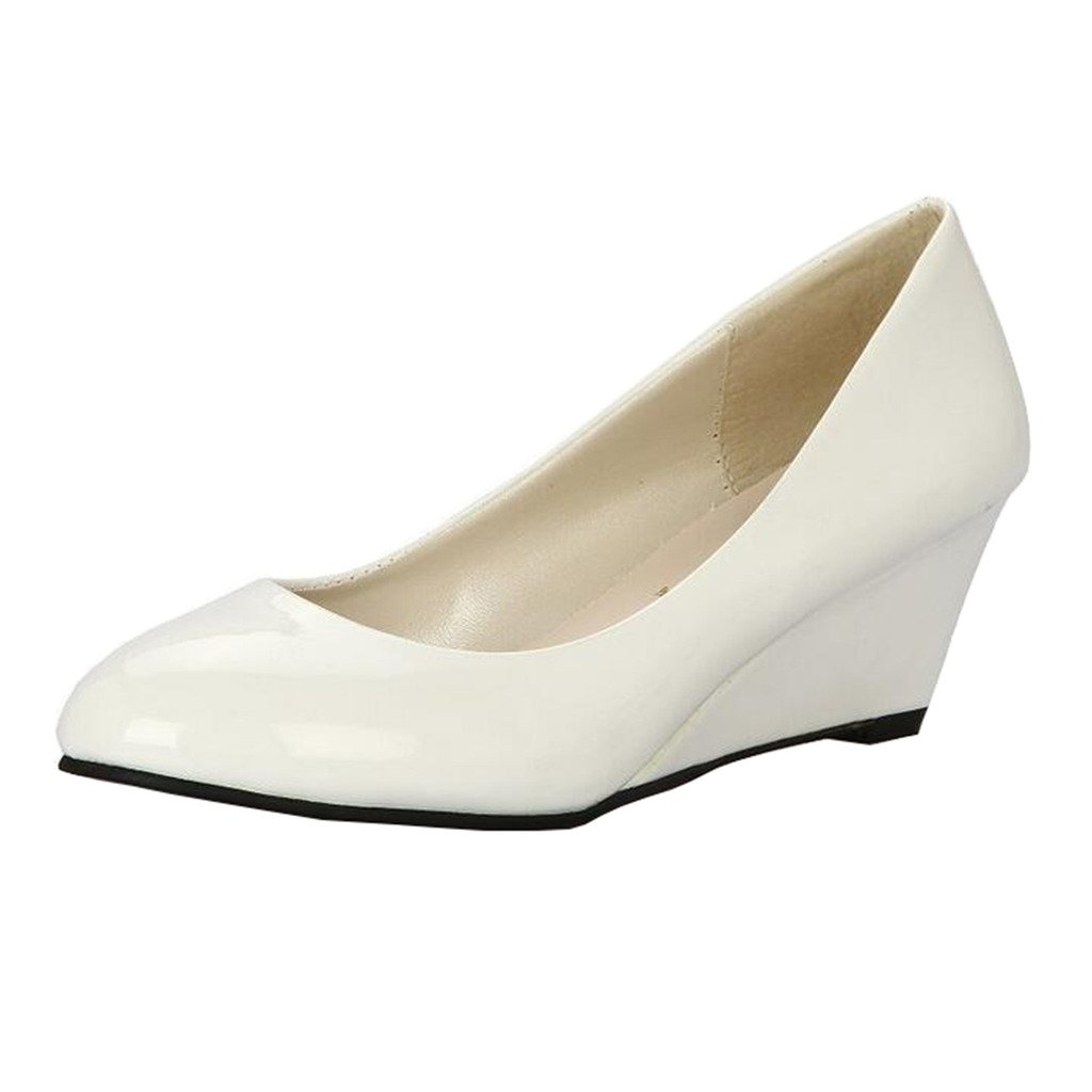 M Hyperbole Womens Low-Top Wedge Heel Slip-on Court Shoes B US 5 White
