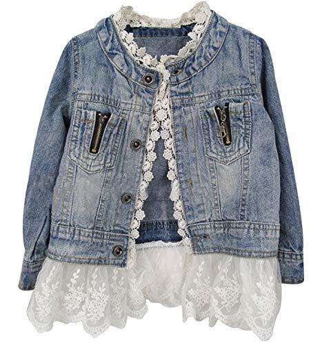 Lace Overcoat - Girls Kids Fashion Jean Jacket Denim Jeans Lace Outwear Cowboy Overcoat, Blue, 110cm (3-4 Years)