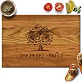 Froolu Tree Heart Maple Wood Personalised Cutting Board Wedding Couples Deal (Small Image)