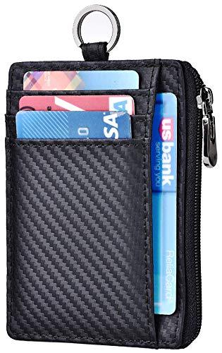 (Slim Wallet RFID Front Pocket Wallet Minimalist Secure Thin Credit Card Holder (A Carbon Fiber ID Badge Holder))