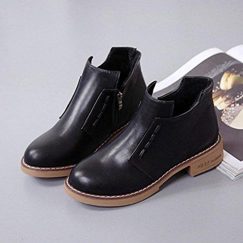 Kurz Knöchel Single Stiefel HARRYSTORE Frau britisch Martin Stiefel Damen Einfach Stil Reißverschluss Stiefel Schuhe Schwarz