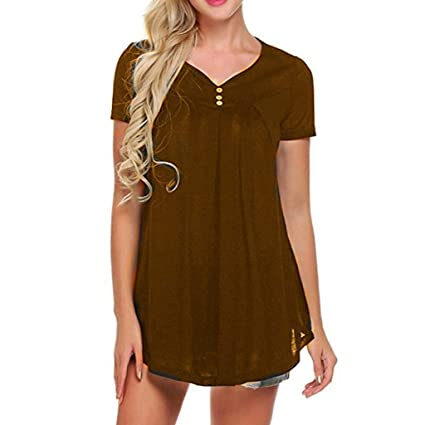 bc4530c1070fd Image Unavailable. Image not available for. Color  Womens Tops V Neck T-Shirts  Swing Ruffle Blouses Button up Tunic Casual ...