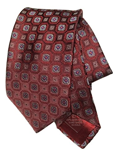 Brioni Hand Made In Italy Pure Silk Medallion Amaranth/Red (Brioni Mens Silk Tie)