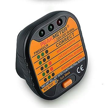 PEAK METER PM6860CR - Detector de fugas / / / enchufe línea error de seguridad recordatorio: Amazon.es: Coche y moto