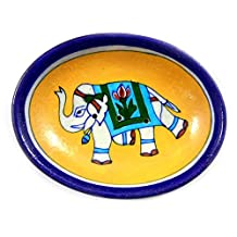 Handmade Decorated Ceramic Bathroom Soap Dish Holder, Plate & Dispenser Blue Pottery Art Work Hand Painted Yellow Blue Elephant Soap Dish Home Decor Bathroom Decor Gifting Purpose