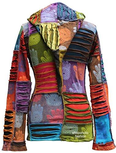 Henna Shopoholic Mano Moda Capucha Sudadera Chaqueta Con Descolorido Puntiaguda Hippy Mujeres Multicolor r7wIW1q7t