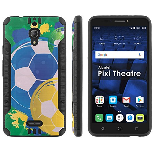 Mobiflare Shock Proof Armor Protection For Alcatel Pixi Theatre Black Black Ultra Defender Protective Phone Case World Cup Soccer Balls For