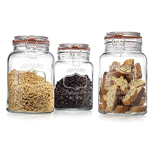 Glass Canister Quality Set of 3 Clear Round Jar with Hermetic Seal Bail u0026 Trigger Airtight Lock for Kitchen - Food Storage Containers  sc 1 st  Amazon.com & Large Canisters Flour Sugar: Amazon.com