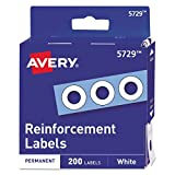 Avery White Self-Adhesive Reinforcement Labels, 0.25 Inch Round, Pack of 200 (5729)