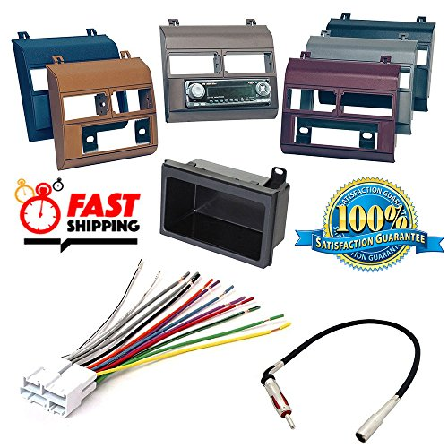 1988-1996 Chevrolet & GMC Complete Single Din Dash Kit + Pocket Kit + Wire Harness + Antenna Adapter. Available in factory colors, Black, Gray, Blue, Beige, Brown and (Wire Harness Gmc Crew Cab)