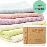 Organic Bamboo Baby Washcloth Flannels - Best for Sensitive Skin, Eczema, while being Eco Friendly, Soft and Strong - 6 pack - 10x10 inch Large - Perfect Gift for New Parents (Pastel Rainbow)