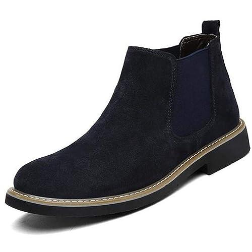 Mens Suede Chelsea Boot Botines Casual Desert Boots Slip para Hombre Botas Cortas TamañO para El Invierno En Azul, Negro Y Gris: Amazon.es: Zapatos y ...